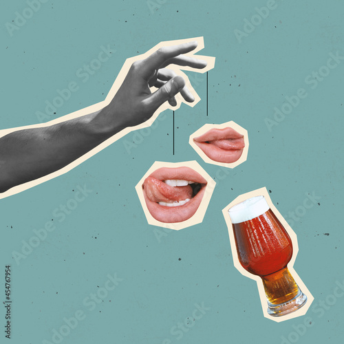 Contemporary art collage and modern design. Festival mood. Beer party. Concept of idea, inspiration, creativity and art.