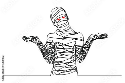 Fotografia, Obraz continuous line Scary mummy on Halloween