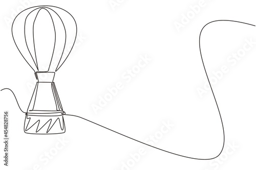 Fototapeta Continuous one line drawing Airballoon airway travel transport