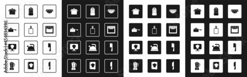 Fotografia Set Kitchen colander, Cutting board, Frying pan, Cooking pot, Oven, Salt, Meat chopper and Chef hat with location icon
