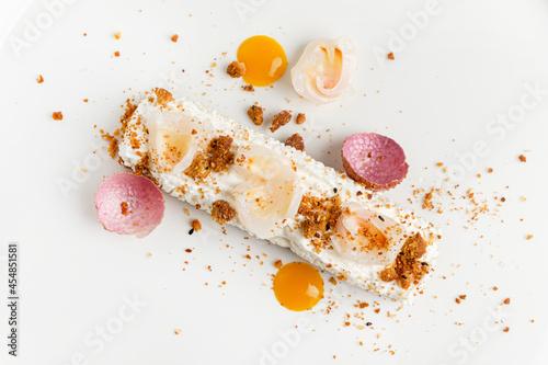 Obraz na plátně french pastry with mango and white chocolate