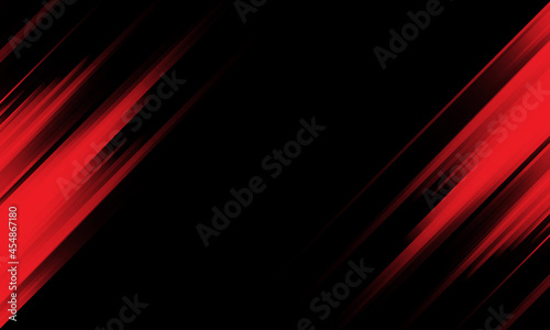 Abstract red light speed dynamic on black technology futuristic background vector