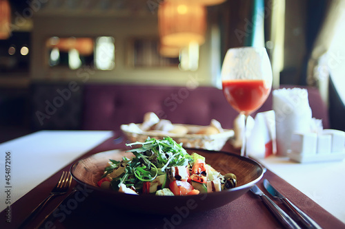 Fototapeta salad in cafe interior, asian cuisine, abstract in restaurant background