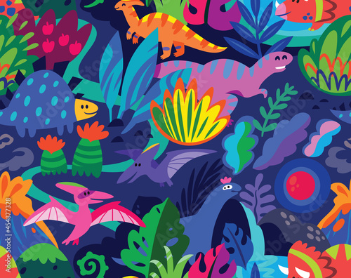 Landscape with dinosaurs and abstract leaves seamless pattern Fototapete