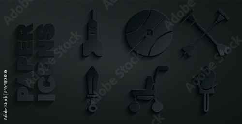 Stampa su Tela Set Baby stroller, Arrow with sucker tip, Sword toy, Toy horse, Basketball ball and Dart arrow icon