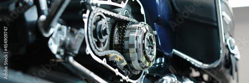 Fotografie, Obraz Blue motorcycle in repair sevice closeup background