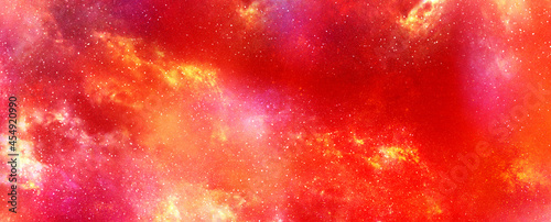 Cuadros en Lienzo Red galaxy in deep space texture background empty space for ads and wallpaper