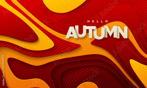 Fotografia Hello autumn paper sign on wavy paper cur background with red and orange topogra