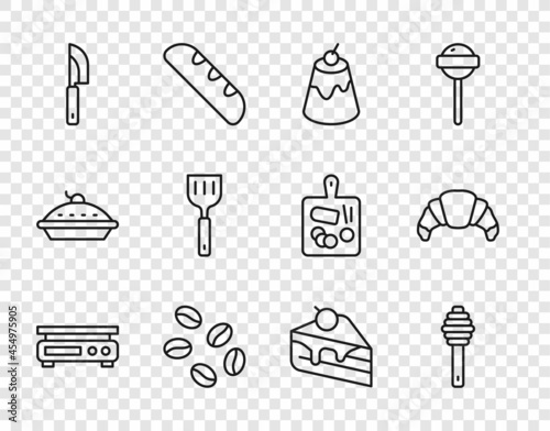 Set line Electronic scales, Honey dipper stick, Pudding custard, Coffee beans, Knife, Spatula, Piece cake and Croissant icon Fototapet