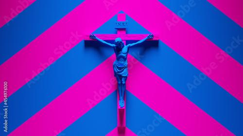 Canvas Blue Jesus on a Cross Statue Crucifix Church Art Religion Sculpture Catholic Fai
