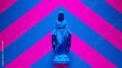 Fotografía Blue Virgin Mary Statue Art Religion Sculpture with Pink an Blue Chevron Backgro