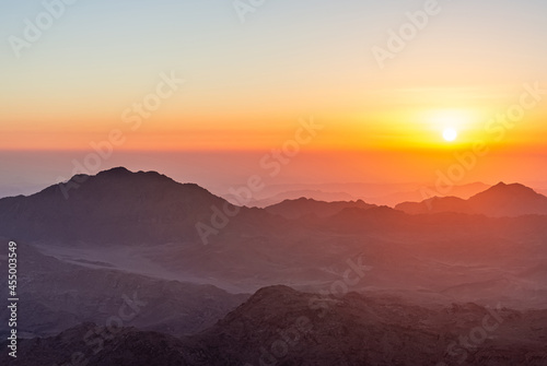 Obraz na plátne Sunrise over Mount Sinai, view from Mount Moses