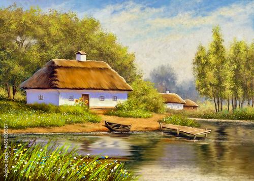 Fotografia, Obraz Oil paintings rural landscape, old house on the river
