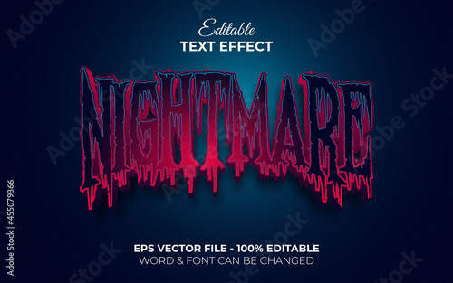 Nightmare text effect style Fototapet