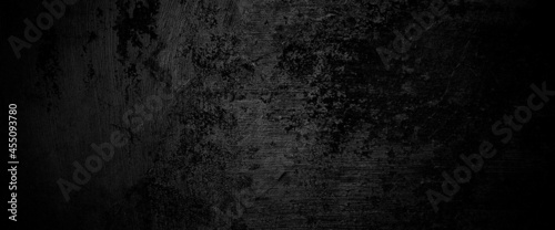Fotografija Scary on damaged grungy crack and broken concrete bricks wall and floor, black a