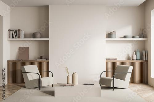 Fotografija Beige seating area in a modern living room