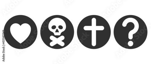 Fotografie, Obraz Christian icon concept. Christian symbols. Vector illustration