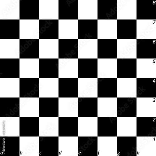 Murais de parede Modern black chess board with letters and numbers background design vector illustration