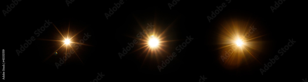 Easy to add lens flare effects for overlay designs or screen blending mode to make high-quality images. Set of abstract sun burst, digital flare, iridescent glare over black background.