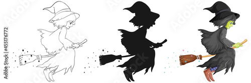 Billede på lærred Witch with broomstick in color and outline and silhouette cartoon character isol