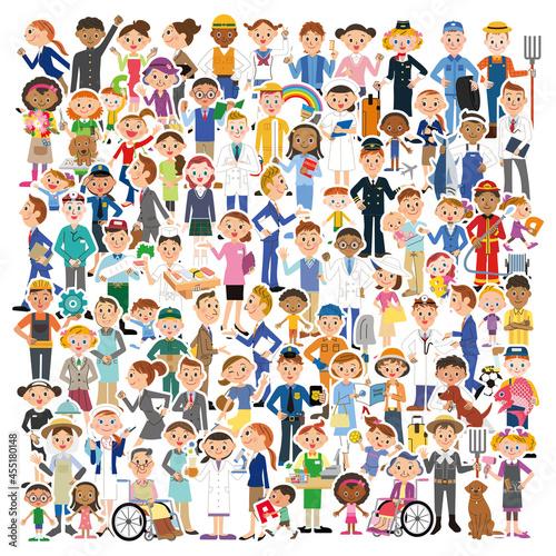 Billede på lærred 重なり合う地域の人々集合