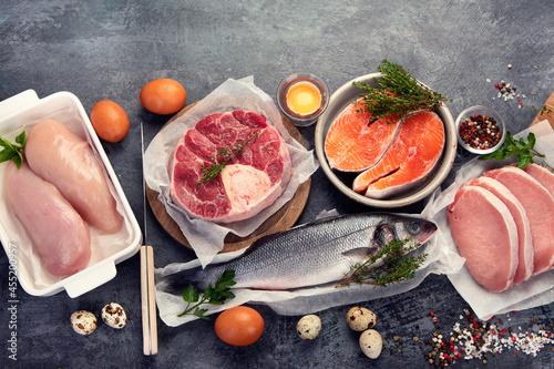 Obraz na plátně Carnivore diet on dark background.