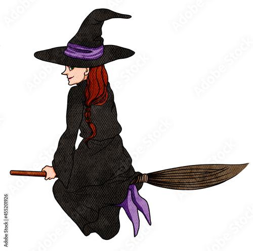 Canvastavla 空を飛ぶ魔女
