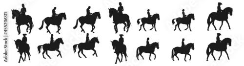 Obraz na plátne people riding horses silhouettes collection