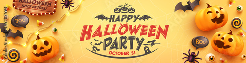 Foto Happy Halloween party Poster or banner with Ghost Pumpkin,bat,candy and Halloween Elements