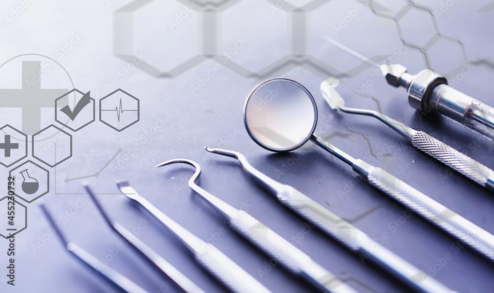 Leinwandbild Motiv - alexkich : Equipment for the dental office. Orthopedic Instruments. Dental technician with working tools. Dentist metal tools.