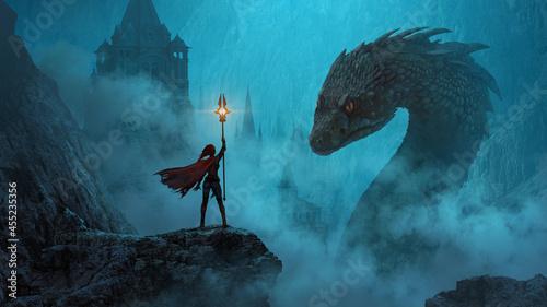 Fotografia Sorceress summoning a giant monster - fantasy digital illustration