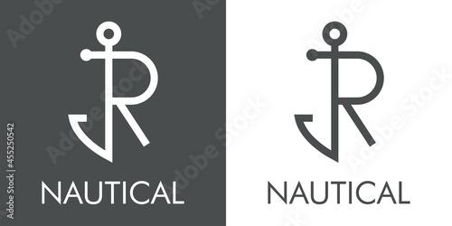 Foto Logotipo con texto Nautical y silueta de ancla de barco con forma de letra inici