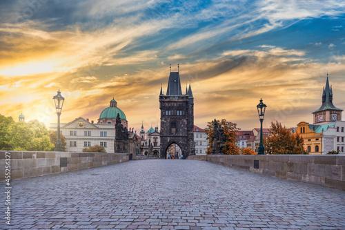 Canvas Prague Czech Republic, sunrise city skyline at Charles Bridge, Czechia with autu
