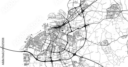 Fototapeta Urban vector city map of Malmo, Sweden, Europe