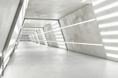 Slika na platnu Side view of abstract futuristic space ship interior in light colors