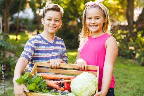 Portrait of happy caucasian brother and sister in garden holding box of fresh organic vegetables