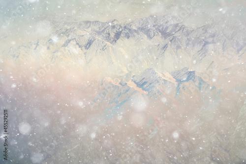 Billede på lærred rocks drone view top winter landscape aerial view mountains