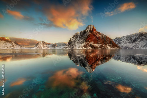 Fotografie, Obraz Nature, view of the mountains and fjord, Lofoten Islands, far north Norway