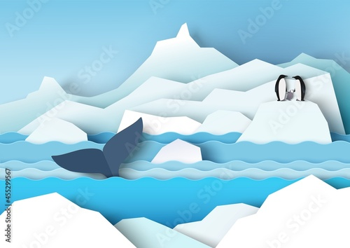 Antarctica scenery with glaciers, icebergs, penguin family and whale, vector paper cut illustration Fototapet