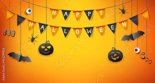 Fotografiet Halloween poster with flags garland, bats and pumpkin on orange background