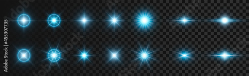 Fotografiet Flash white-blue light on dark transparent background