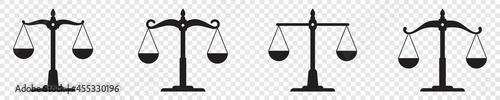Fotografie, Obraz Scale icon set, justice scales symbol, law scale, Vector illustration