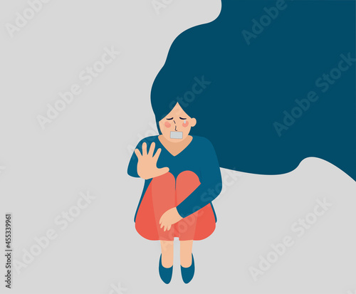 Obraz na płótnie Flat abused woman character