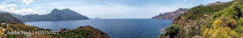 Fotografie, Obraz Panoramic view of Scandola Nature Reserve sea