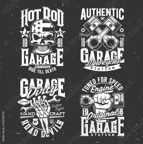 Skull, motorcycle biker garage and custom chopper vector t-shirt prints Fototapet