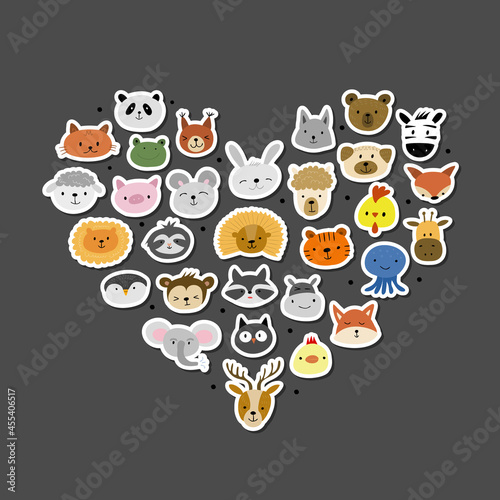 Fototapeta premium Animal Stickers Collection. Childish Style. Heart Shape for your design