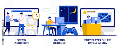 Fotografia Screen addiction, gaming disorder, multiplayer online battle arena concept with tiny people