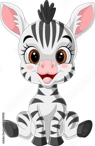 Fototapeta premium Cartoon cute baby zebra sitting