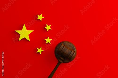 Fototapeta Top view of judge gavel flag of China