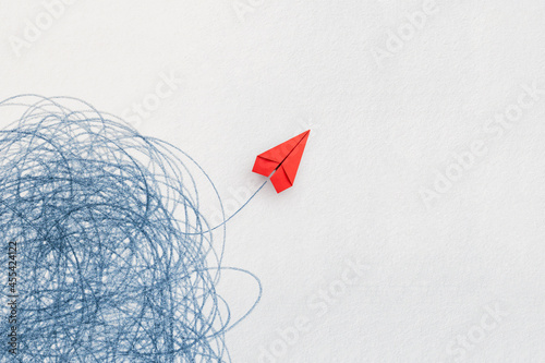 Business for solution concept. red paper plane on white background